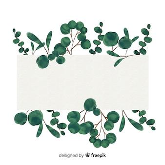 Striscione di eucalipto acquerello con banner bianco