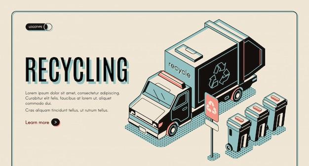 Striscione di riciclaggio dell'immondizia con il raccoglitore della lettiera o camion dei rifiuti che sta vicino ai bidoni della spazzatura, ordinamento dei rifiuti