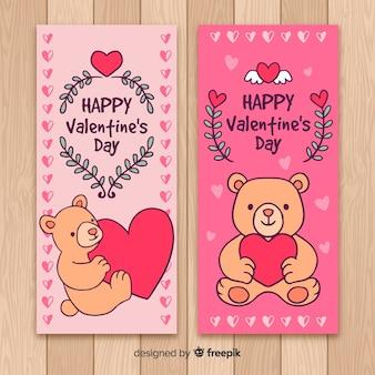 Striscione di san valentino orsacchiotto