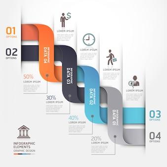 Striscione moderno di opzioni di stile di origami del diagramma di affari.