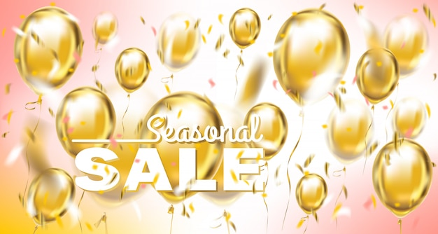 Striscione pastello di vendita stagionale con palloncini metallici e coriandoli