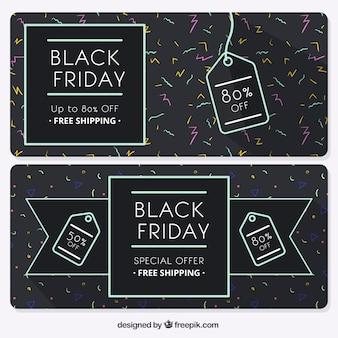 Striscioni black friday con etichette decorative
