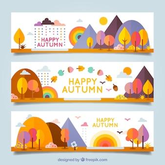 Striscioni colorati felice autunno