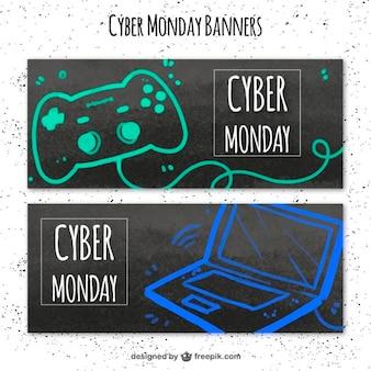 Striscioni cyber lunedì con un computer portatile e un controller per videogiochi