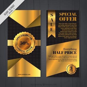 Striscioni d'oro a metà prezzo