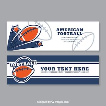 Striscioni di football americano con dettagli arancione in design piatto