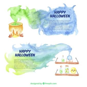 Striscioni di halloween con pozioni e un calderone