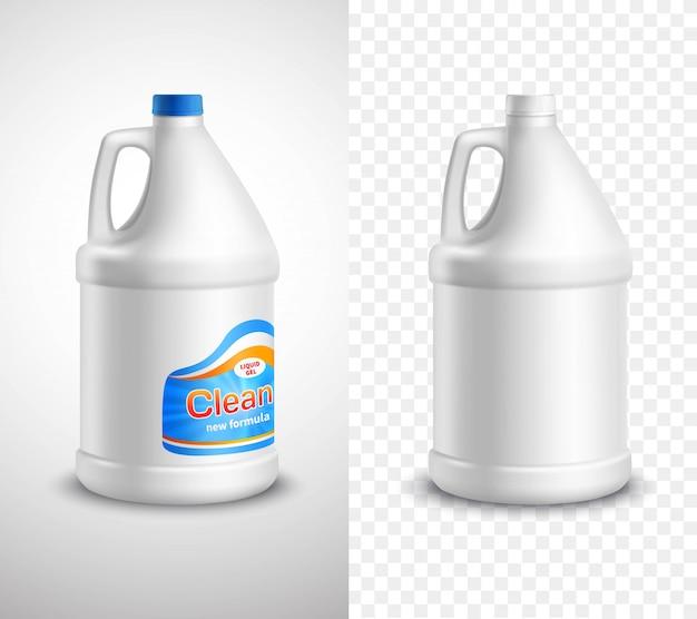 Striscioni di prodotti con bottiglie di detersivo per bucato vuote ed etichettate