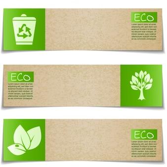 Striscioni eco con segni verdi su sfondo bianco