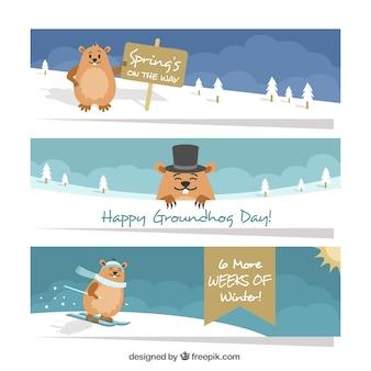 Striscioni groundhog nella neve