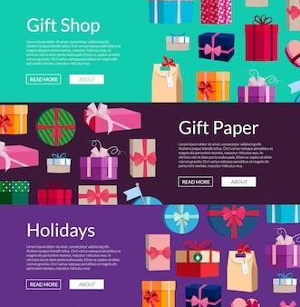 Striscioni orizzontali con un sacco di scatole regalo o pacchetti