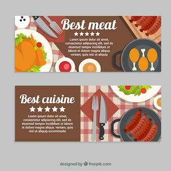 Striscioni piatte con diversi tipi di carni