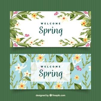 Striscioni primavera acquerello