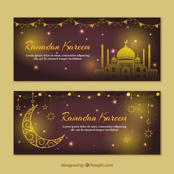 Striscioni ramadan d'oro e brillanti