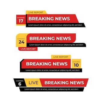 Striscioni rossi e gialli di ultime notizie