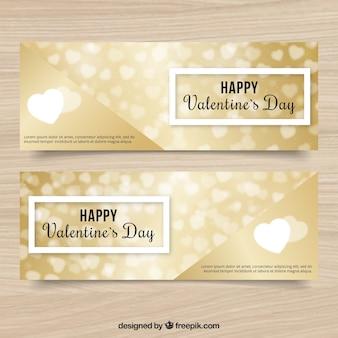 Striscioni san valentino eleganti con fondi oro