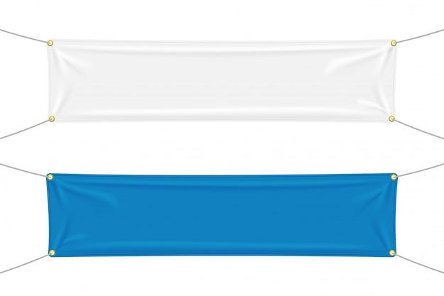 Striscioni tessili bianchi e blu con pieghe