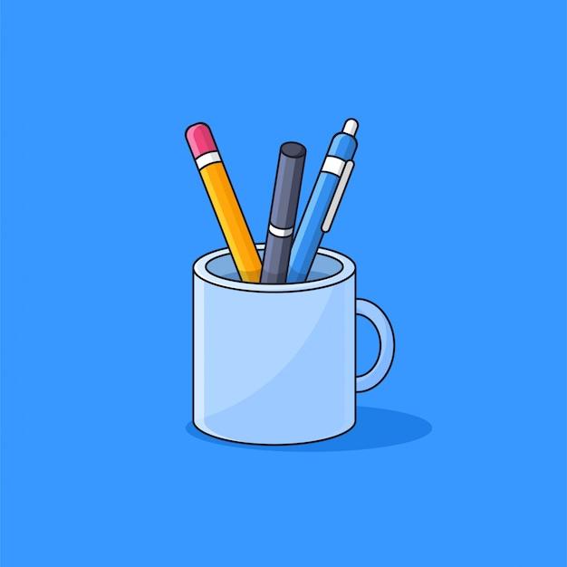 Strumenti della scuola dentro l'illustrazione semplice di vetro di vettore di stile del fumetto della tazza