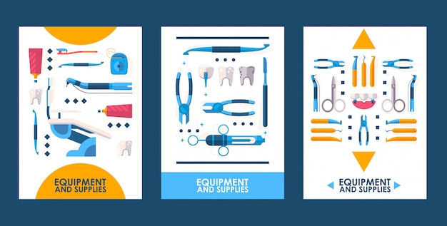 Strumenti di apparecchiature odontoiatriche, icone piane di strumenti medici