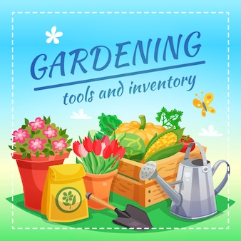 Strumenti di giardinaggio e concetto di design di inventario