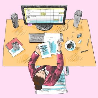 Strumenti di lavoro del dipendente del contabile ufficio posto con la donna seduta sul tavolo colorato vista dall'alto schizzo illustrazione vettoriale