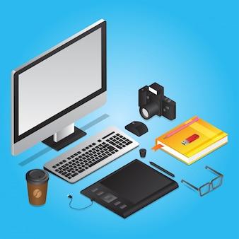 Strumenti di progettazione grafica come computer con tavoletta grafica