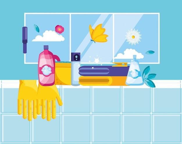 Strumenti di pulizia con set di icone