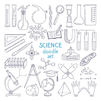 Strumenti di scienze isolate su bianco. attrezzatura tecnologica, classe di biologia. illustrazioni disegnate a mano