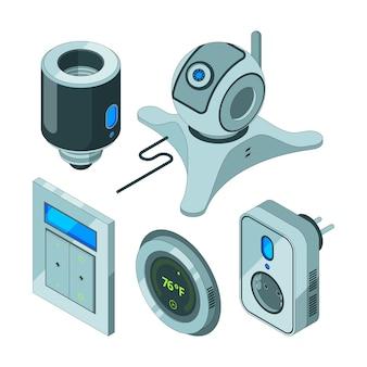 Strumenti domestici intelligenti. varie apparecchiature web elettriche per sensori di movimento per videocamere di sicurezza per la casa hub elettriche isometriche
