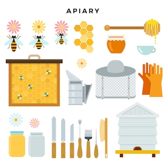 Strumenti e attrezzature dell'apiario, insieme delle icone. tutto per l'apicoltura. illustrazione vettoriale in stile piatto.