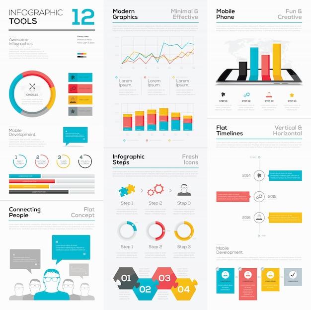 Strumenti infografici e elementi grafici vettoriali aziendali