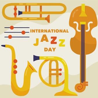 Strumenti internazionali disegnati a mano dell'illustrazione di giorno di jazz