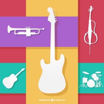 Strumenti musicali colorfull vettore
