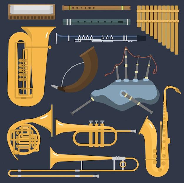 Strumenti musicali del tubo d'ottone del vento isolati. blow blare studio acustico lucido musicista attrezzatura in ottone. strumento a fiato per orchestra, suono di tromba in metallo