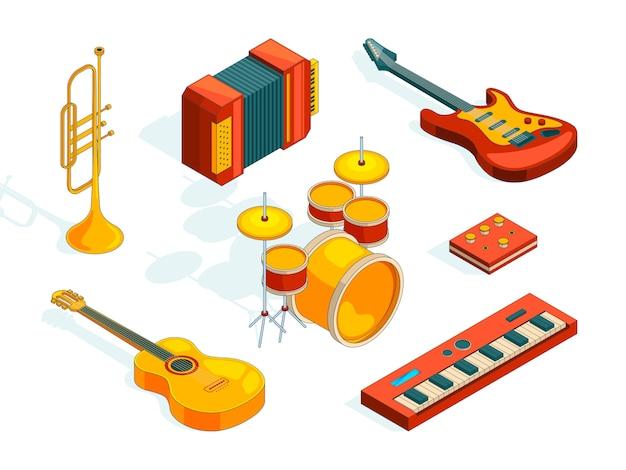 Strumenti musicali. insieme isometrico vari strumenti musicali colorati