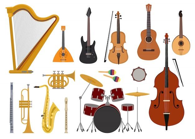 Strumenti musicali vettore concerto di musica con chitarra acustica balalaika e musicisti violino arpa illustrazione imposta strumenti a fiato tromba sassofono flauto isolato su briciolo