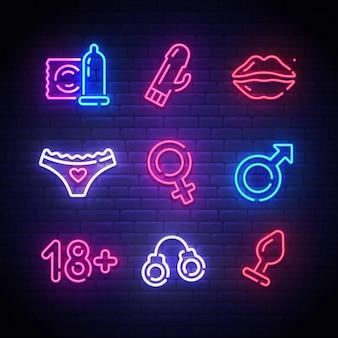 Strumenti per adulti. insegna al neon di sex shop