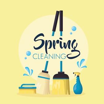 Strumenti per le pulizie di primavera