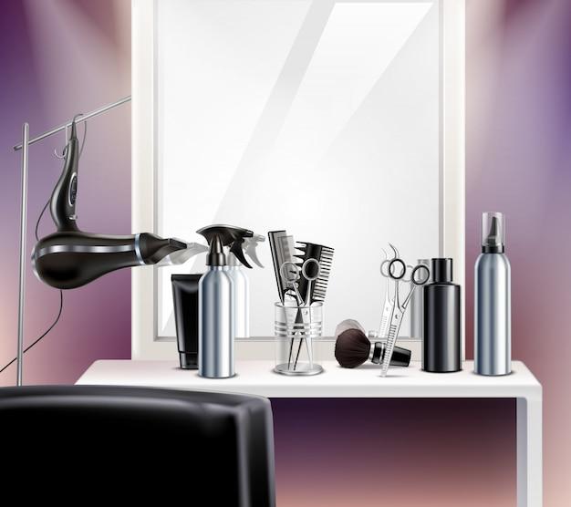 Strumenti per parrucchieri per composizione con asciugacapelli a specchio e forbici realistici