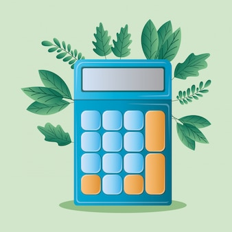 Strumento calcolatrice e foglie