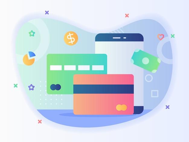 Strumento di pagamento credito debito carta bancaria applicazione smartphone concetto di transazione senza contanti con disegno vettoriale stile piatto