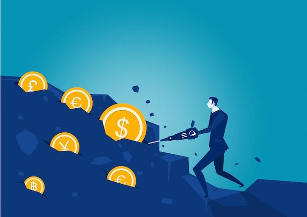 Strumento di scavatura dell'uomo d'affari nella roccia con la moneta