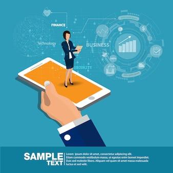 Strumento mobile di analisi rapporto isometrico app piatta 3d.