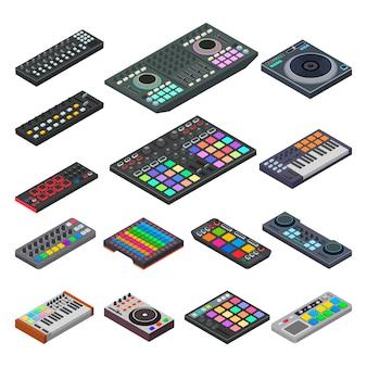 Strumento musicale dell'attrezzatura sana dell'audio di vettore della tastiera del midi per l'illustrazione di musica digitale