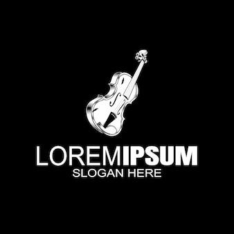 Strumento musicale per violino con arco. etichetta con logo del negozio di musica. .