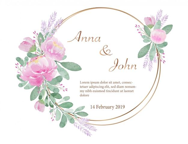 Struttura adorabile dell'invito del fiore dell'acquerello di tono d'annata leggero