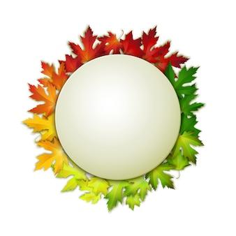 Struttura arrotondata in bianco sul fondo realistico variopinto delle foglie di autunno