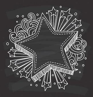 Struttura decorativa di forma della stella sul fondo della lavagna