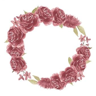 Struttura del cerchio del fiore della rosa dell'acquerello