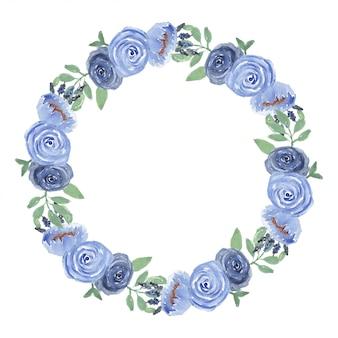 Struttura del cerchio floreale rosa dell'acquerello nel colore blu